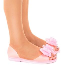 Pinkki Vaaleanpunaiset meliski sandaalit, joissa on HM803-kukka