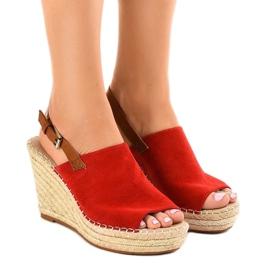 Punainen Punaiset sandaalit kiila KA-20 espadrillilla