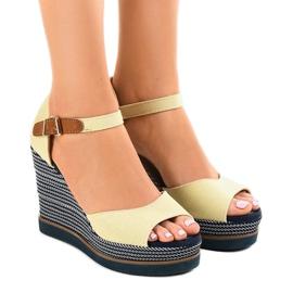 Ruskea Beige sandaalit kiilaan 9079 espadrillessa