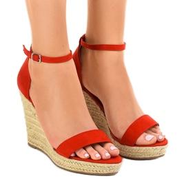 Punaiset sandaalit kiilalla BD342 espadrillit punainen