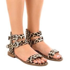 Leopardin litteät sandaalit, koristeltu LL-122P: llä