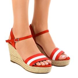 Punainen espadrillin kiila sandaalit 9072