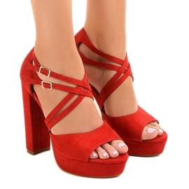 Punainen Punaiset sandaalit mokkan tyyliin D09