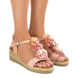 Pinkki Vaaleanpunainen kiila sandaalit kukkia 218-168