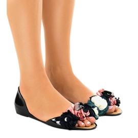 Musta meliski sandaalit, joissa on AE20-kukat