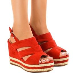 Punainen espadrilli FG6 kiilakorko sandaalit