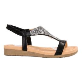 Top Shoes Tyylikäs musta sandaali