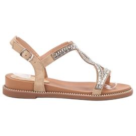 Bello Star Suede sandaalit kristalleilla ruskea
