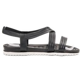 SHELOVET musta Slip-in kumi sandaalit