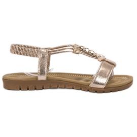 Top Shoes keltainen Kultaiset koristellut sandaalit