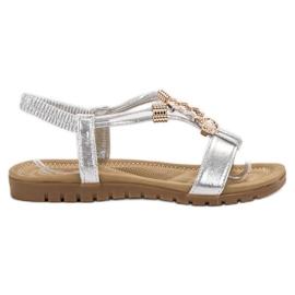 Top Shoes harmaa Hopea koristeltu sandaalit