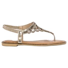 SHELOVET keltainen Japanilaiset sandaalit kiteillä