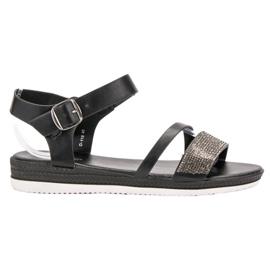 SHELOVET musta Muodikkaita sandaaleja zirkoneilla