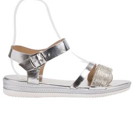 SHELOVET harmaa Muodikkaita sandaaleja zirkoneilla