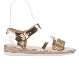 SHELOVET keltainen Muodikkaita sandaaleja zirkoneilla