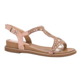 Bello Star pinkki Suede sandaalit kristalleilla