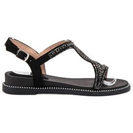 Bello Star musta Suede sandaalit kristalleilla