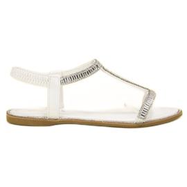 SHELOVET valkoinen Tasaiset sandaalit kiteillä