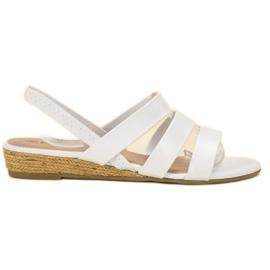 Fama valkoinen Suede sandaalit joustavalla nauhalla