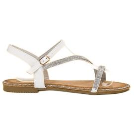 SHELOVET valkoinen Klassiset sandaalit zirkoneilla