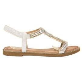 Forever Folie valkoinen Slip-on sandaalit kiteillä