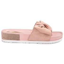 SHELOVET pinkki Suede Flip Flops zirkoneilla