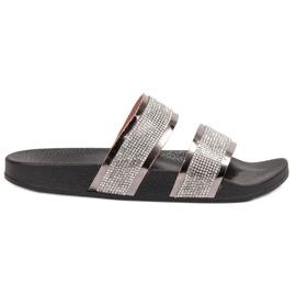 Ideal Shoes harmaa Naisten tossut, joissa on zirkoneja