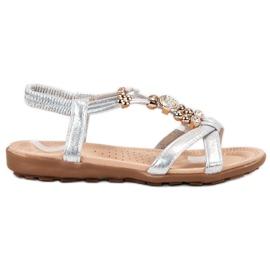 SHELOVET harmaa Litteät sandaalit koristeilla