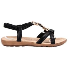 SHELOVET musta Litteät sandaalit koristeilla
