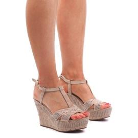 Ruskea Sandaalit Wedge F6078 Beige