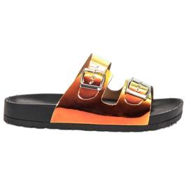 Ideal Shoes keltainen Tossut Holo-solki