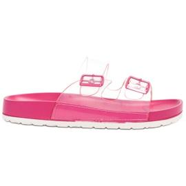 Ideal Shoes pinkki Läpinäkyvät läpät Se solki