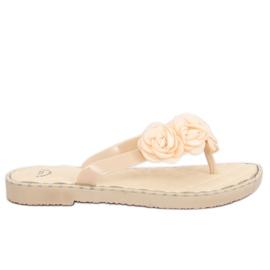 Ruskea Flip-flops with flowers beige YJL-1818 Beż