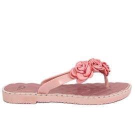 Pinkki Flip flops vaaleanpunaisilla kukkilla YJL-1818 Pink