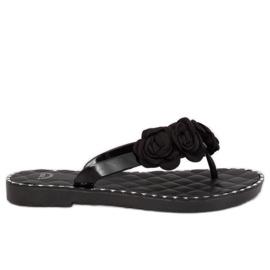 Flip flops kukat musta YJL-1818 Black