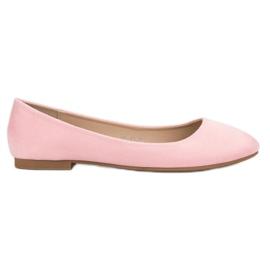 Small Swan Pink Suede Ballerina pinkki