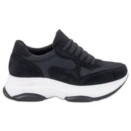 Ideal Shoes musta Vaaleanpunaiset lenkkarit