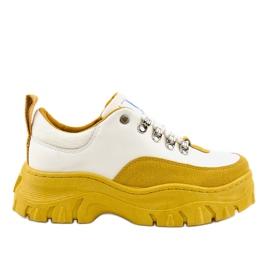 Valkoiset ja keltaiset muodikkaat naisten urheilujalkineet PF5329