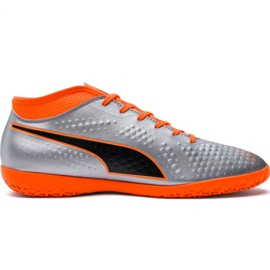 M Puma One 4 Syn It 104750 01 jalkapallokengät hopea oranssi, harmaa / hopea