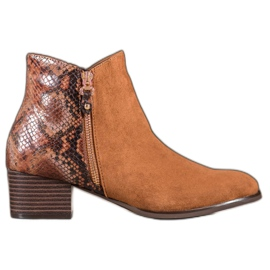 Kylie Camel Boots Snake Print ruskea
