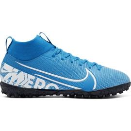 Nike Mercurial Superfly 7 Academy Tf Jr AT8143 414 jalkapallokengät sininen valkoinen, sininen