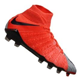 Nike Wmns Hypervenom Phantom 3 Df Fg M 881545-058 jalkapallokengät punainen, harmaa / hopea