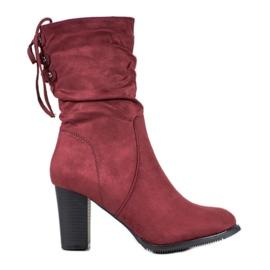 J. Star Korkeat Burgundin kengät punainen