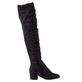 Fashion Mustat reiteen korkeat saappaat