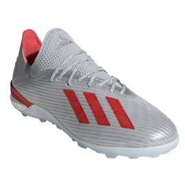 Jalkapallokengät adidas X 19.1 Tf M G25752 punainen, harmaa / hopea hopea 3