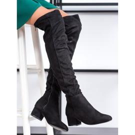 Fashion Mustat reiteen korkeat saappaat 1
