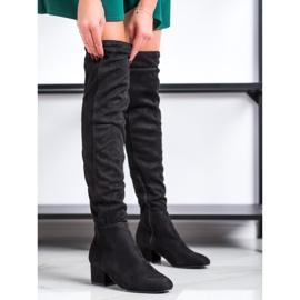 Fashion Mustat reiteen korkeat saappaat 2