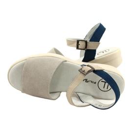 Mukavat sandaalit nahkaa Filippo DS2021 / 21 GR sininen harmaa 3