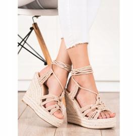Seastar Sidotut sandaalit korkealla kiilalla beige 1