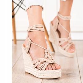 Seastar Sidotut sandaalit korkealla kiilalla beige 3